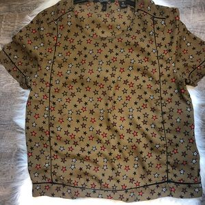 Scotch & Soda chocolate brown with stars blouse